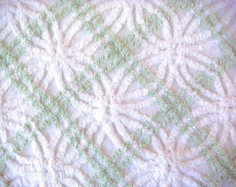 Morgan Jones Mint Green and White Plush Vintage Cotton Chenille Bedspread Fabric 18 x 24 Inches