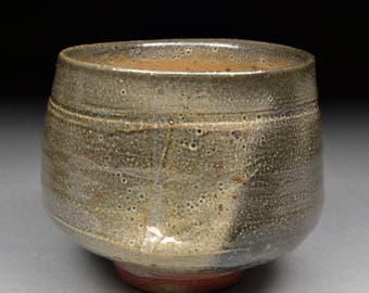 Large Handmade Smokey Stoneware Yunomi Tea Cup glazed  Carbon Trap Shino