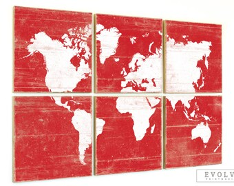 Distressed World Map Wall Art Print - Rustic Home Decor - Vintage Map Artwork - Custom Made