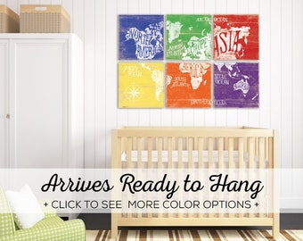 Check out our Colorful World Map Art! Available in over 25 colors - Perfect for Baby Nursery Decor