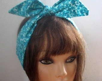 TEAL Hair Bandana, PinUp Hair, Women Hairband, Floral Dread Wrap, Wide Hair Band, Fabric Hair SCARF, Boho Bandana, RockaBilly 50S  #204