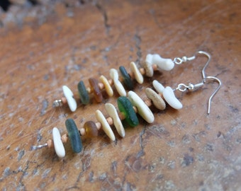 Shell, sea glass, pebble jewelry -  long natural earrings - handmade with found gifts of the ocean. Water element jewellery