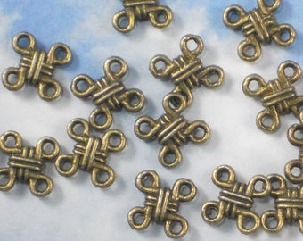 24 Celtic Knot Links Connectors Antique Bronze Tone nice for earrings (P565)