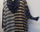 Tunic Plus Size Plus Size Tunic Top Coco and Juan Top Lagenlook  Mix Stripe Knit Tunic Top #1 One Size Bust to 78 inches
