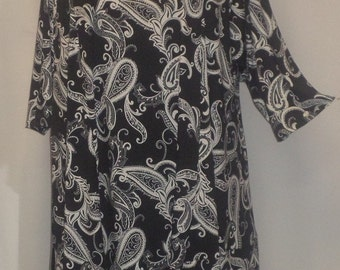 Plus Size Tunic, Coco and Juan, Plus Size Asymmetric Tunic Top, Black and White  Print Traveler Knit Size 2 (fits 3X,4X)   Bust 60 inches