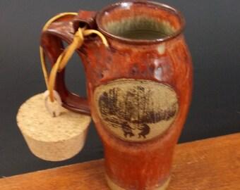 Stoneware Travel Mug With Cork ~ Dancing Bear Design ~