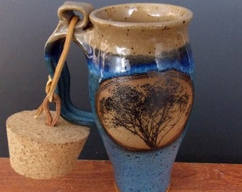 Stoneware Travel Mug With Cork ~ Classic Tree Design ~