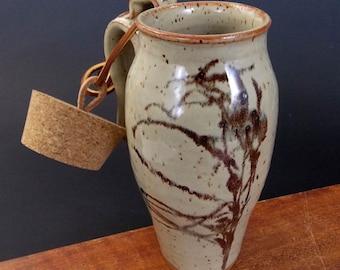 Stoneware Travel Mug With Cork ~ Dried Flower Grass Design ~