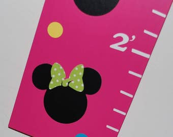 Wood Growth Chart . Olivia. Minnie Mouse for Girl . White Pink Lavender Purple Teal Yellow Dark Pink