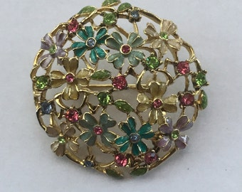 Vintage Monet Enamel Rhinestone Floral Pin
