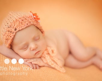 Hand Knit Apricot Bonnet Photography Prop Newborn Girl Knitted Mohair Baby Shower Gift Going Home Hat Coming Outfit Infant Photo Wool Set
