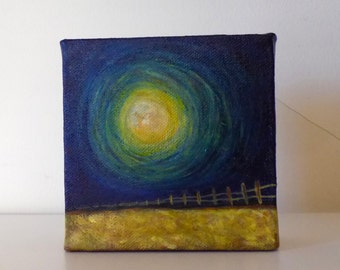 Moon Above The Wheat Field - Small Original Painting