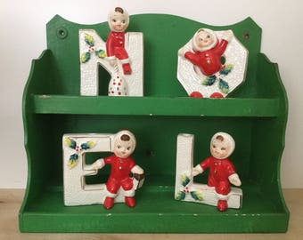 Christmas NOEL Letters Candleholders, Snow Children, Mid Century Holidays, Made in Japan, Lipper and Mann, Xmas Ceramic Collectibles, Kitsch