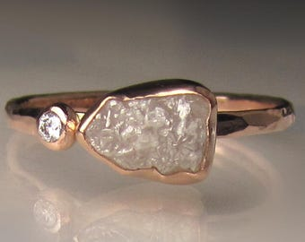 White Raw Diamond Engagement Ring, Rough Diamond Ring in 14k Rose Gold