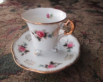 Lefton Hand Painted China, 3 Footed Demitasse Teacup & Saucer Set, Signed, Gray, Rose, Gold Gilt, Tea Party, Vintage, Victorian