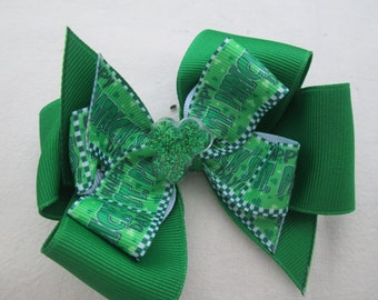 St Patrick's Hair Bow, Double Boutique Hair Bow, Shamrock Green Hair Bow, Leprechaun  Bow, Toddler Hair Bow, St Paddys Day Hair Bow