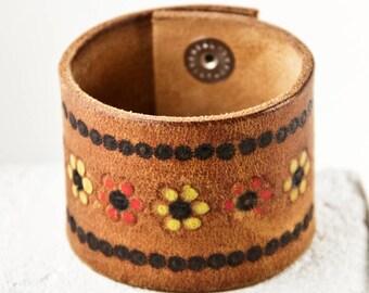 Tooled Belt Bracelet Wristband Leather Jewelry Vintage