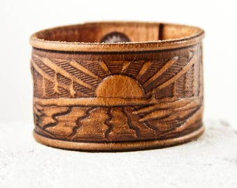Leather Jewelry Tooled Bracelet Vintage Belt Cuff