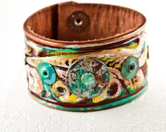 Metal Patina Bracelet Multi Color Leather Cuff Colorful Jewelry For Women