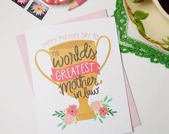 Happy Mother's Day to the World's Greatest Mother-in-Law, Mother's Day Card Floral, Best Mom Ever, Greeting Card, Unique, Mother in law