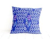 Ikat, Pillow, Cushion, Cotton, Handwoven, 16x16, Blue