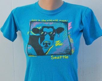 Rad Vintage 80s Tee Cool Cow Seattle TShirt Northwest WA Teal Blue Neon Tee Youth LARGE ladies SMALL