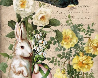 Digital Download Easter Bunny Trail Yellow Rose Green You Print Digital Collage