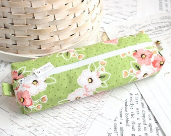 Pink and Green Floral Pencil Case Floral Boxy Pouch Green Floral Print