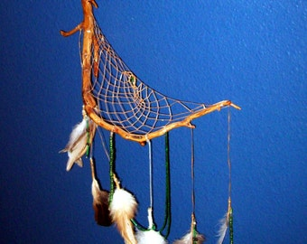 Large Natural Wood Dreamcatcher with green beads and feathers