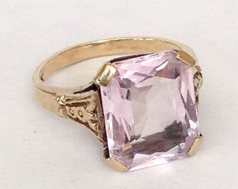 Art Deco Amethyst Ring Antique Large 5ct Stone 10k Gold Setting Light Pink Purple 20s Engagement Ring Big Rectangle 1920s Cushion Cut Sz 6