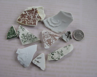 Sea Pottery 9 Pieces of Genuine Beach Pottery in Greens Browns and China Natural Beach Finds Surf Tumbled Sea Glass Pottery Bulk Supply