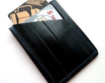 Mini Wallet Blue Stitching Bicycle Inner Tube Recycled