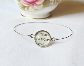 To Kill a Mockingbird Stacking Bangle Atticus Finch Bracelet Vintage Silver. Text Name Literature Jewelry. Two Cheeky Monkeys Handmade