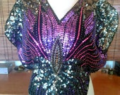 Vintage beaded sequin butterfly blouse M