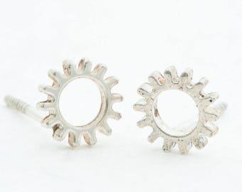 Cog - Silver Stud - Earrings-MJ
