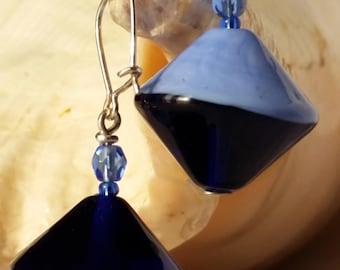 Earrings Murano glass bicone Blue