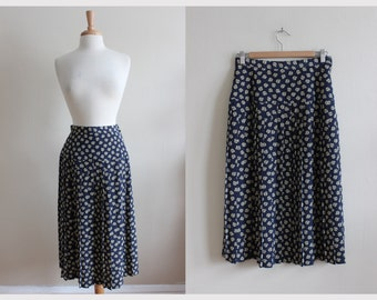 Vintage Navy Rose Print Maxi Skirt