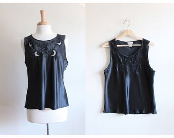 Vintage Black Sheer Cutout Satin Tank Top