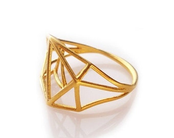 Valentines Sale Geometric Ring, Brass Ring, Minimal Jewelry, Brass Geometric Ring, Brass Jewelry, Gifts For Her, Geometric Jewelry Design, F