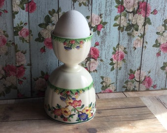 Lovely and Colorful Vintage English Wedgwood Egg Cup - Bright Floral Design