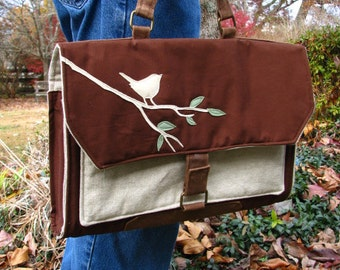 Vegan, Eco-Friendly, Padded Laptop Case, Nature Laptop Case, Bird Handmade laptop Case, Ultra Suede Applique