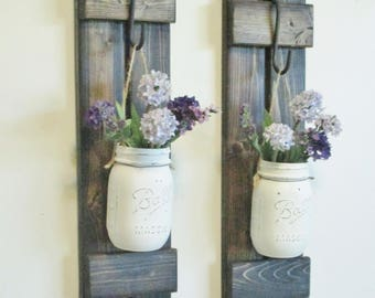 New Design...Primitive Rustic Farmhouse Stained Wood Wall Decor 2 Hanging Mason Jar Sconces.Hanging Mason Jars