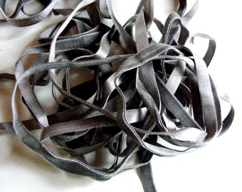 Vintage French Silk Velvet Ribbon 1920's 3/8 inch Gorgeous Grey