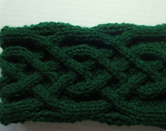 Womens Celtic Headband, Knitted Celtic Cable Headband, Green Headband, Knit Cable Headband, Cable Ear Warmer, Gifts for her, Knitted Items