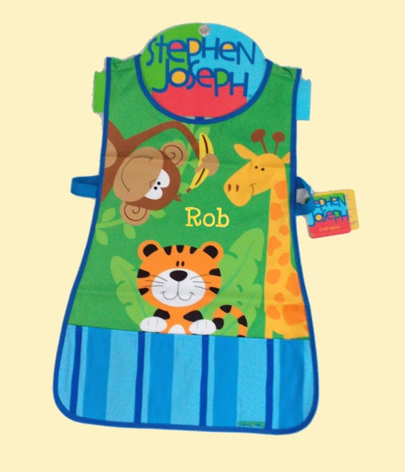 Personalized Stephen Joseph -Craft Apron ZOO Themed-Art Craft Smock Apron-Monogramming Included