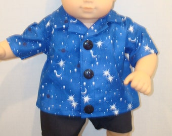"""15"""" Baby Doll Clothes/Stars & Moon/2 piece Shirt and Shorts/Made to fit 15"""" Bitty Baby Boy/READY TO SHIP"""