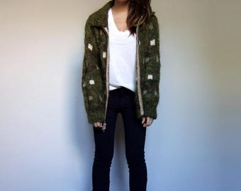 Olive Knit Cardigan Green Oversized Sweater Vintage Unisex Zip Up Cardigan Winter Knit Sweater - Medium to Large M L