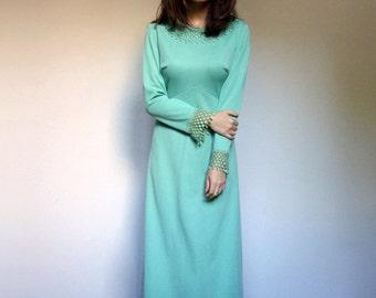 Mint Maxi Dress 70s Rhinestone Dress Long Sleeve Maxi Boho Dress Long Green Dress - Large L