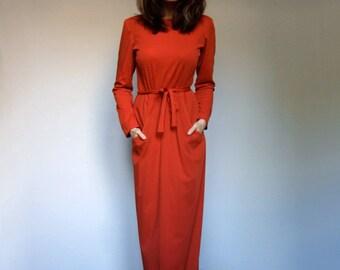 Long Sleeve Maxi Dress Pockets Vintage Red Orange Dress Long Dress Party Dress 70s Boho Dress - Medium M
