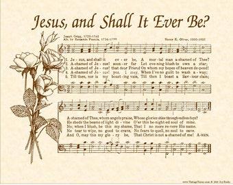 JESUS AND SHALL It Ever Be - Hymn Wall Art- Custom Christian Home Decor- Vintage Verses Sheet Music- Inspirational Wall Art 8x10 Sepia Brown